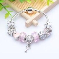 Gift Silver Heart Charm Bracelets Bangles Crystal Glass Beads Bracelets For Women Pulsera DIY Jewellery