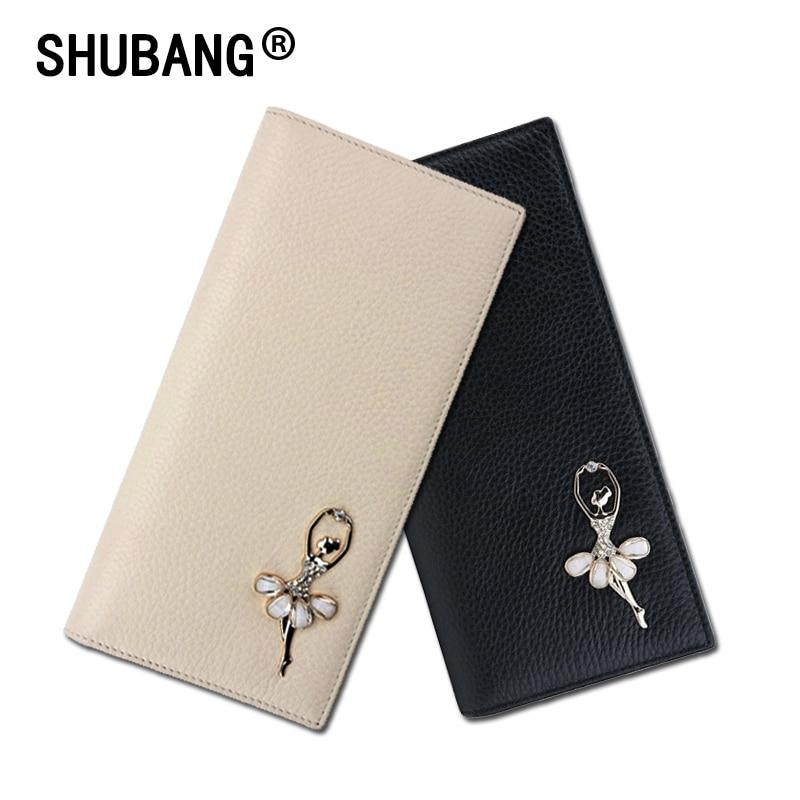 Women Wallet Genuine Leather Japan Style Diamonds Long Purse Fashion Lady Hasp Wallets F010-1