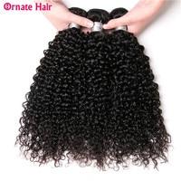 Ornate Brazilian Kinky Curly Hair 3Bundles Natural Color 8 28inch Brazilian Hair Weave Bundles Non Remy Human Hair Free Shipping