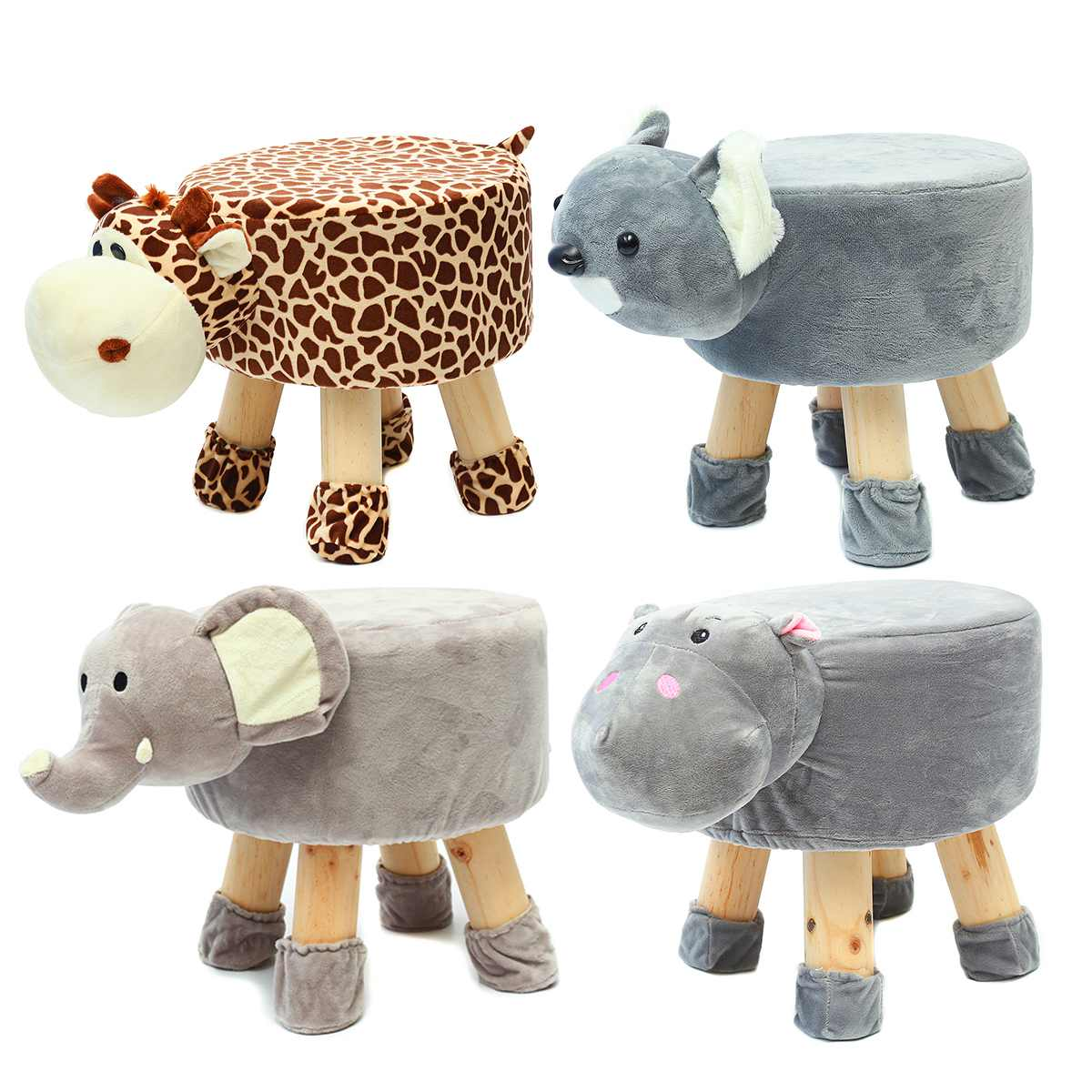 Portable Children's animal stool solid wood shoes ben ch cute cartoon stool Animal Footstool Ottoman Footrest Stool