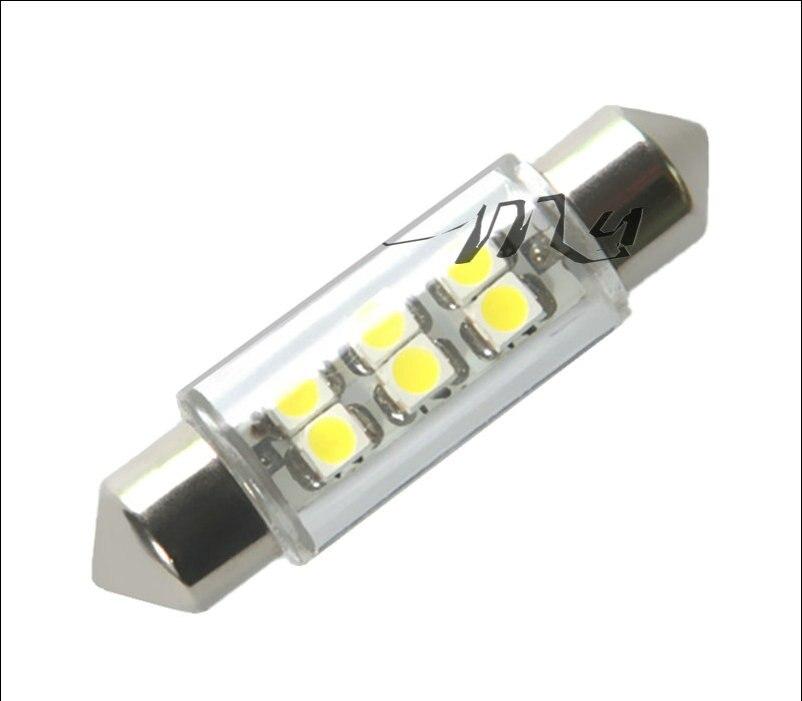 10pcs 12 volt dc led bulbs c5w led 39mm 6 SMD Pure White Dome Festoon Interio 0.25w led Car Light Bulb Lamp Interior Lights