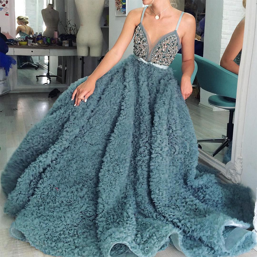 Spaghetti Strap Puffy Tulle   Prom     Dresses   2017 Vestidos Largos De Noche Crystal V-Neck Beaded Long Evening Gowns Party   Dresses