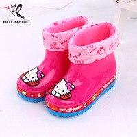 HITOMAGIC Kids Rain Boots Girls Boys Cartoon Plus Cotton Set Waterproof Children S Rubber Boots Children