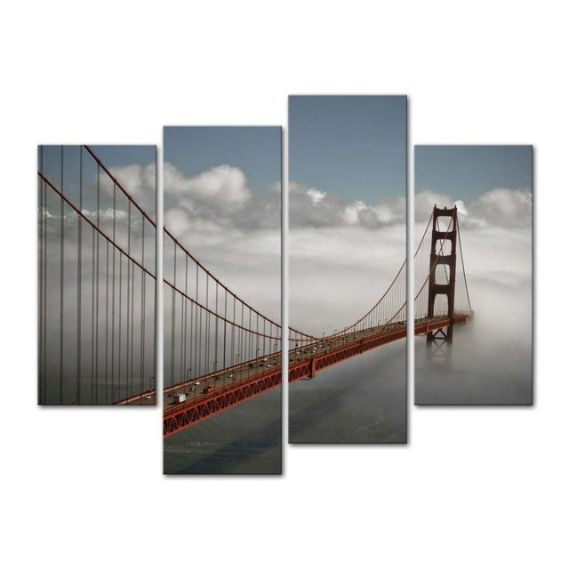 4 Pieces Modern Canvas Painting Wall Art San Francisco In Fog Bridge  Landscape Print On Canvas
