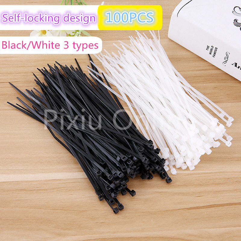 100Pcs/pack ST214b Nylon Cable Tie Self-Locking Black/White 2.5*100/150/200mm Wire Cable Zip Ties Bundled Tools