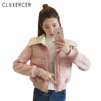 2019 New Women Autumn Winter Suede Faux Leather Jacket And Coat Lady Fashion Short Pink Motorcycle Coat Campera Mujer