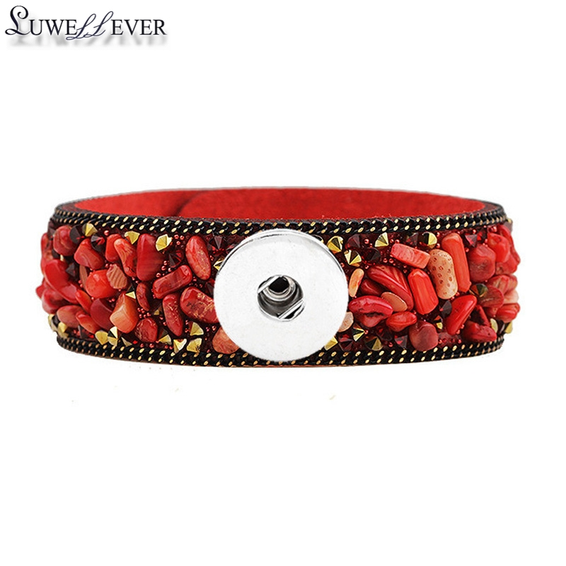 Candy Colors Natural Stone Crystal Velvet Leather Fashion 078 Bracelet Bangle 18mm Snap Button Charm Jewelry For Women Gift in Charm Bracelets from Jewelry Accessories