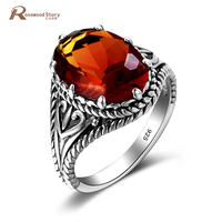 Vampire Diaries Damon Heart Ring Vintage Created Amber Brown Stone Crystal Antique 925 Silver Retro Womens Rings Jewelry