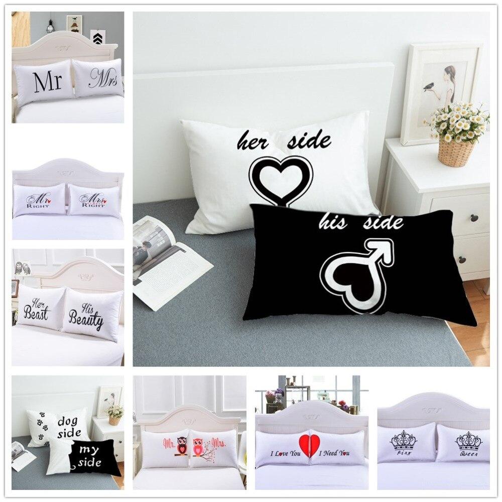 2 pçs/set Europa Cama Fronhas Linda Moda Fronha Presente de Casamento Dos Namorados Casal Queen Branco Dormir Fronha