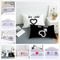 2pcs/set Europe Bedding Pillowcases Lovely Fashion Pillow Cover Wedding Valentine's Gift Couple Queen White Sleeping Pillowslip