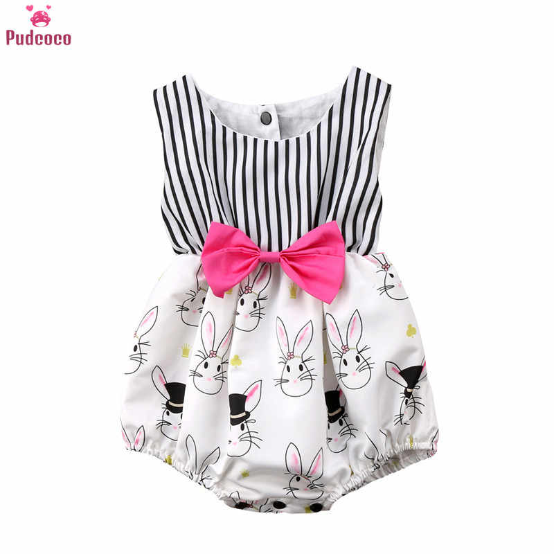 Fashion Cartoon Print Bunny Rabbit Newborn Romper Baby Girl Clothes Infant Striped Jumpsuit Outfits Ropa Bebe 0-24M