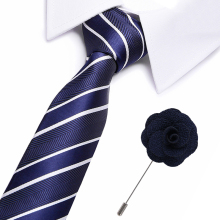 Men`s Tie Blue Novelty 100% Silk brooch Set For Men Formal Wedding Party Groom Business Valentines Gift for men