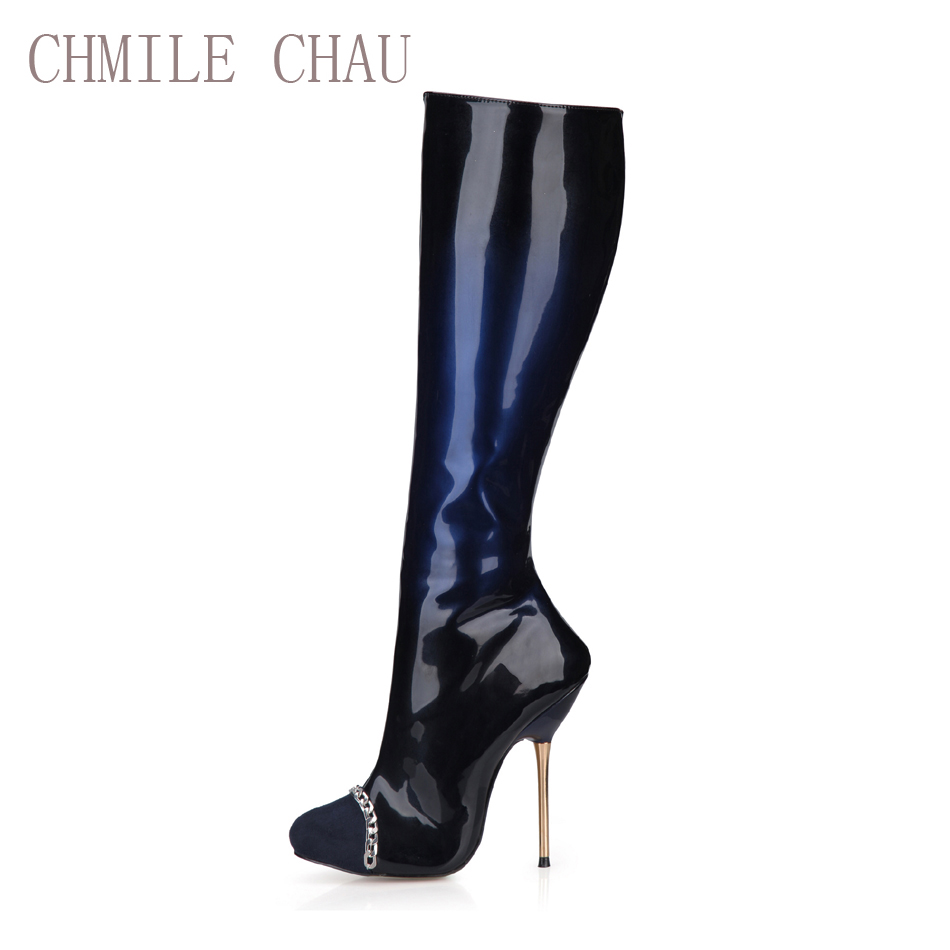 CHMILE CHAU Fashion Sexy Party Shoes Women Stiletto Metal Heels Cap-Toe Chain Ladies Knee-High Boots Zapatos Mujer 3845bt-b4 free shipping 1 10 scale rc drift car wheel hub ce28n metal wheel hubs offset 6 upgrade spare part for 1 10 rc drift car