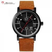 Bahamas Saw SHARK Sport Watch Luxury Brand Men Clock Male Quartz Brown Crazy Horse Leather Waterproof