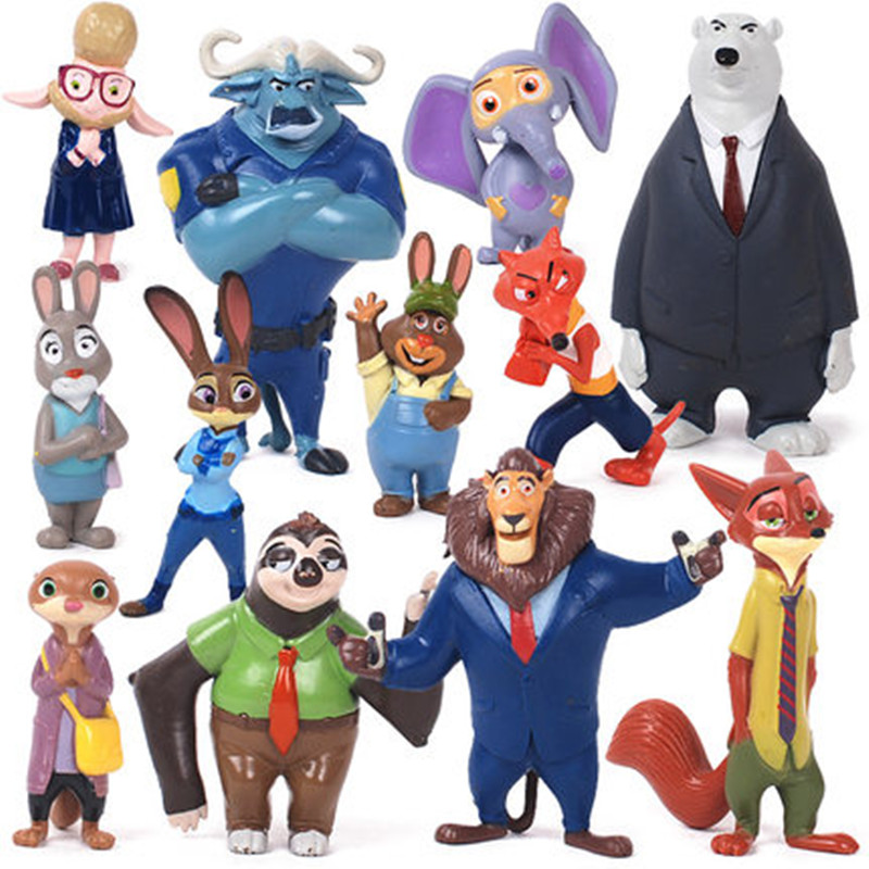 Zootopia Action Figure Doll Toy 4-8cm PVC Zootopia Figure Toys Rabbit  Judy Cop Fox Nick Cartoon Brinquedos, 12pcs/lot 2016 zootopia figures keychain ring toys doll set 2016 new cartoon animal abbit judy hopps nick fox