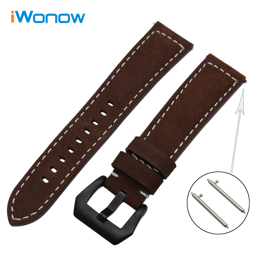 Italian Genuine Leather Watch Band 22mm Quick Release for Vector Luna / Meridian Xiaomi Huami Amazfit Wrist Strap Bracelet Brown 18mm 20mm 22mm quick release watch band butterfly buckle strap for tissot t035 prc 200 t055 t097 genuine leather wrist bracelet