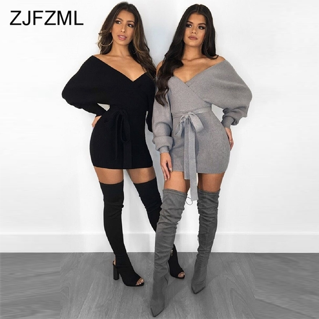 e6149f6b85 Autumn Winter Knitted Plus Size Dress Women Sexy Black V Neck Long Sleeve  Bandage Dress Casual Grey Warm Sashes Sweater Dresses