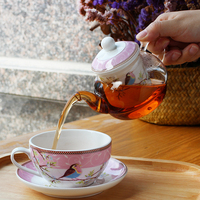 Set of European Ceramic Tea Cup Glass Teapot Bird Porcelain Saucer Kettle Teaware with Tea Strainer (1 cup+1 teapot)