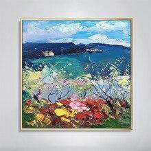 Ручная роспись, абстрактные красочные пейзажи, живопись на холсте, настенное искусство, Безрамное изображение, украшение для гостиной, домашний декор