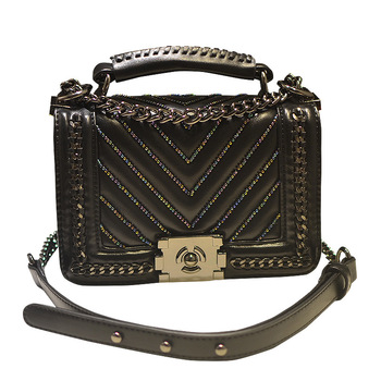 2018 New Sweet Casual Women Shoulder Bag Spring Summer Fashion Female Striped Beading Messenger Bag Ladies Vintage Handbag