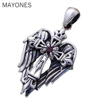 MAYONES Real 925 Sterling Silver Vintage Cross Pendant With Angel Wings Male Christian Jewelry Inlaid Natural Garnet Stone