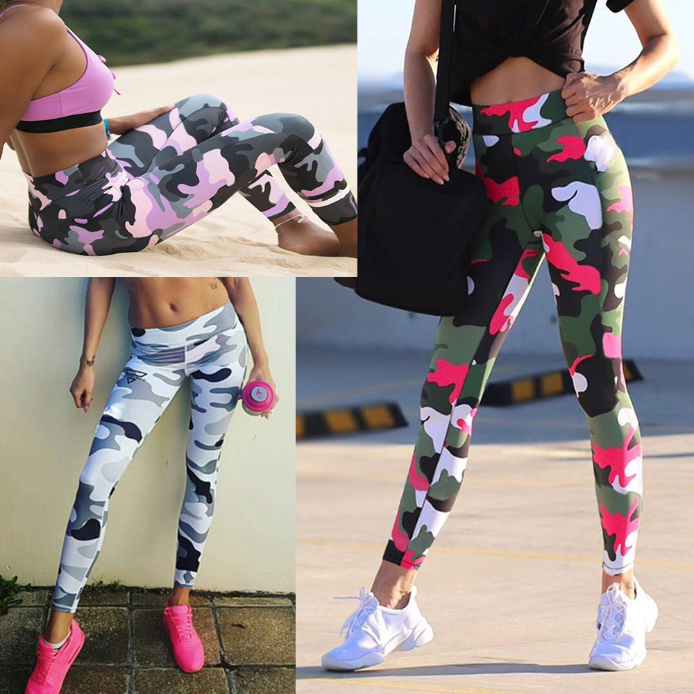 Women's Leggings Fitness Sports Sexy Trousers Camouflage Printed Leggings Women's  Pants