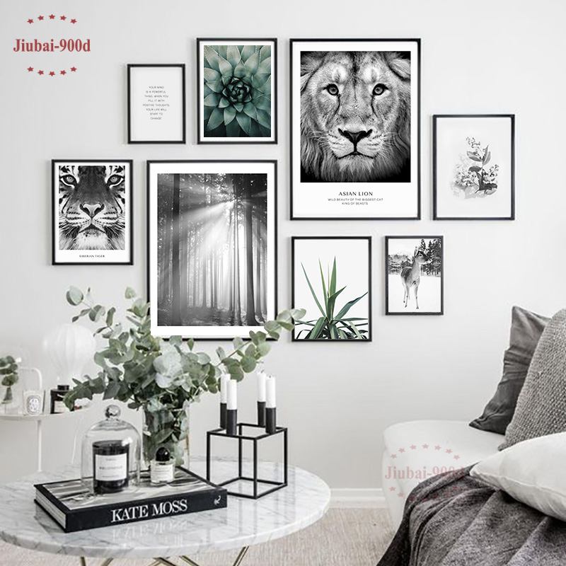 900D Nordic Forest Picture Canvas Painting Wall Pictures For Living Room Posters And Prints Lion Deer Art Decoration SAN68
