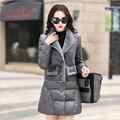 Серый Сплошной Цвет Лоскутная Женщины Парки Лонг Сгущает Зимние Куртки И Пальто Doudoune Femme Пальто A2482