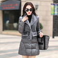 Grey Solid Color With Fur Patchwork Women Parkas Long Thicken Winter Jackets And Coats Doudoune Femme Coats A2482