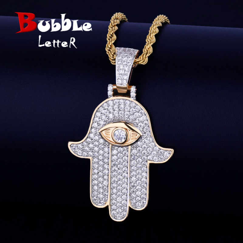 Iced Hand Pendant Necklace Free Steel Cuban Chain Gold Silver Color Cubic Zircon Men's Hip hop Jewelry For Gift