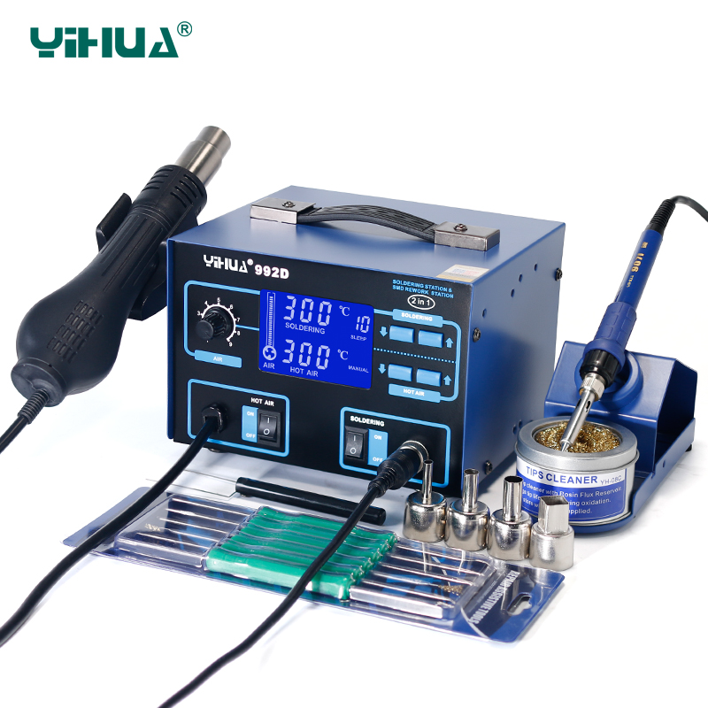 YIHUA 992D Hot Air Soldering Station SMD Blue Ferroalloy Iron Holder Soldering Iron Station Set For Soldering