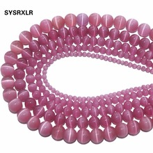 Wholesale Natural Stone Rose Red Opal Cat Eye Beads Round Loose For Jewelry Making DIY Bracelet 4/6/8/10/12 MM