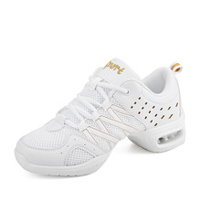 New White Dancing Shoes Soft Bottom Shoes For Women Hoverboard Sports Aerobics Dance Mesh Modern Square Dance Jazz Shoes sneakers modern jazz dance shoes woman sasan 8880 women shoes slip up white athletics aerobics training shoe cowhide upper hot