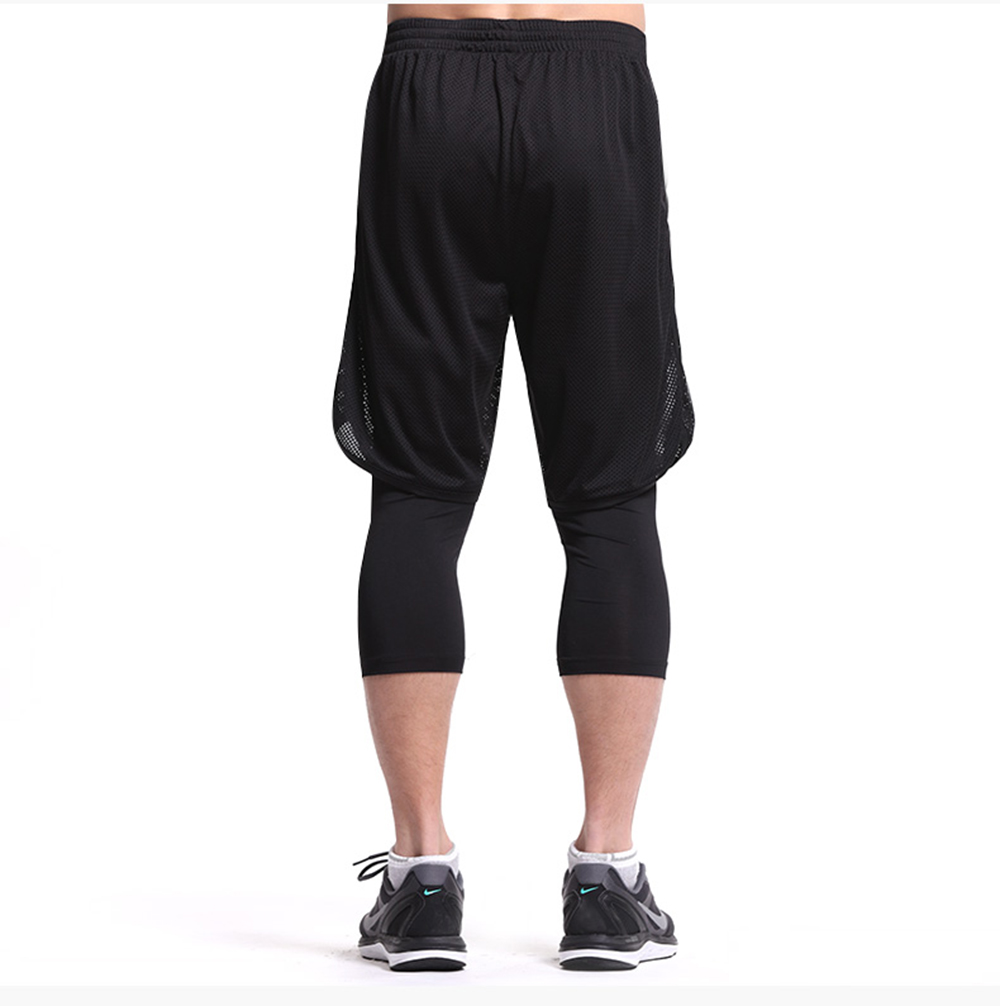 Leevy Quick Dry Fitness Tights Double Layer Men Compression Running Leggings Men\`s GYM Sports Cropped Trousers Training Tights (7)