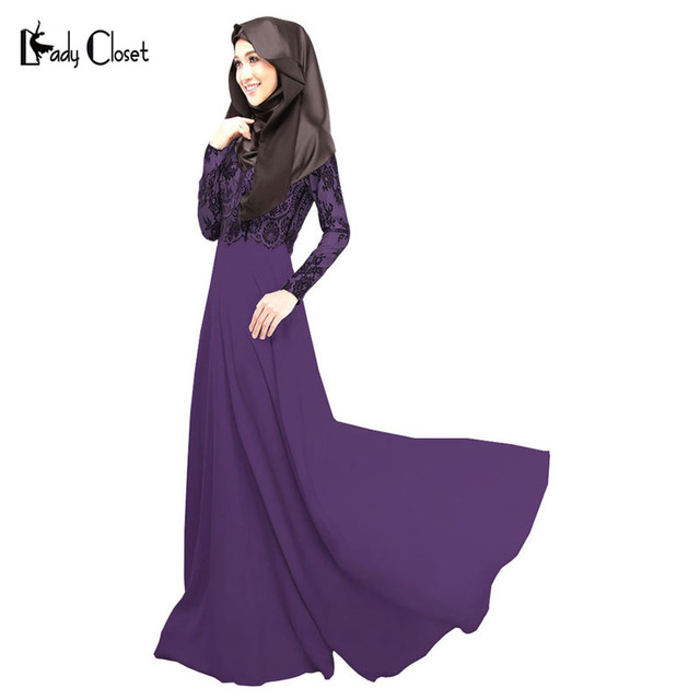 Alta qualidade mulheres vestido Dos Muçulmanos vestuário Islâmico Abaya turco robe musulmane Falso Twinset Rendas muçulmano vestidos Roxo