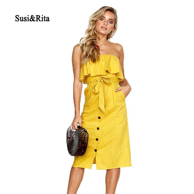 538d3e53b67f Susi Rita 2018 Sexy Off Shoulder Beach Dress Women Summer Belted Ruffle  Dress Vintage Ladies Midi Dress Vestidos Strand Jurkjes