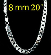 8MM 20inch chain necklaces fashion jewelry men necklace, silver plated necklace mens free shipping