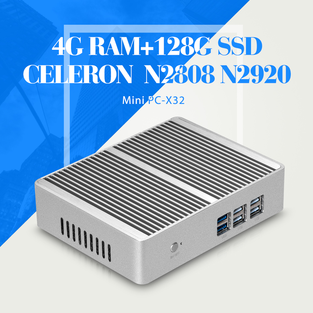 Game Computer Celeron N2808 N2920 N3510 6 USB Window Mini PC Laptop Case DDR3 4G RAM