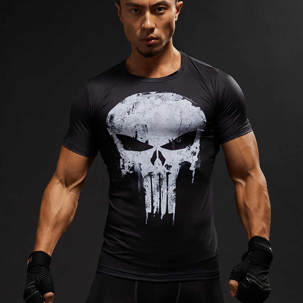 Avengers Captain America T-Shirt Gym MMA T-shirt Pria Lengan Pendek Atasan 3D Cetak Kompresi Kemeja Superman Punisher Tee