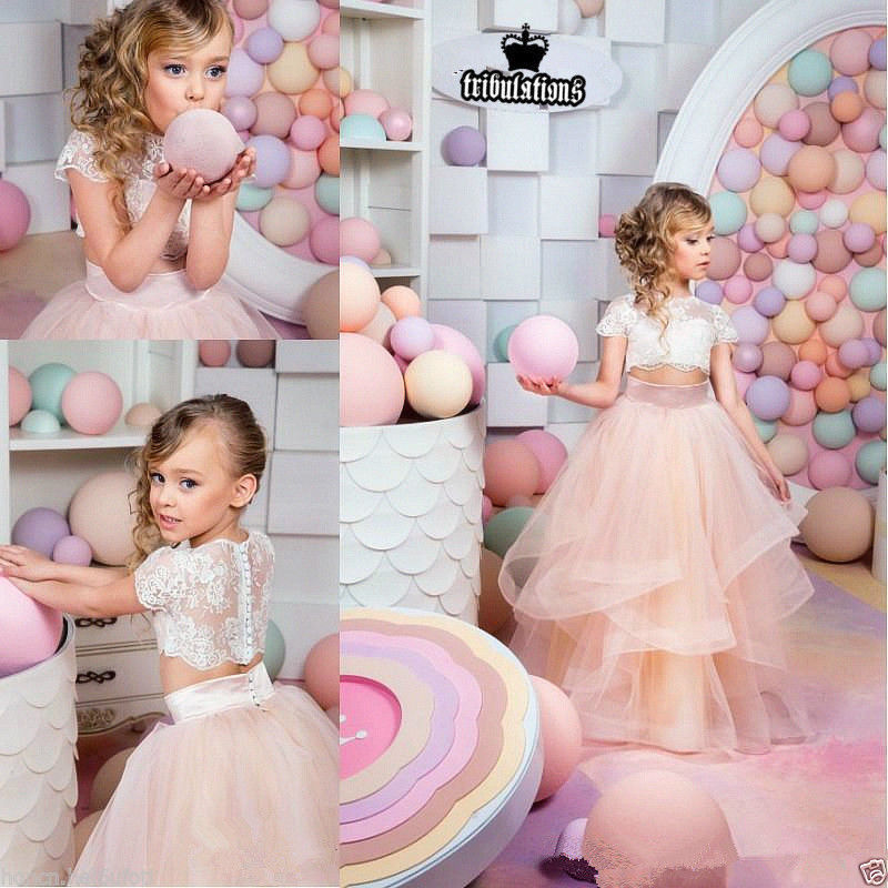 Flower Girl Dress Bridesmaid Wedding Communion Party Prom Princess Pageant kids clothes 2017 new flower embroidery girl dresses pageant party wedding bridesmaid ball gown prom princess long dress girl clothes