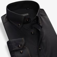 100% Cotton Solid Men Dress Shirt Brand Long Sleeve Slim Fit Formal Business Gentleman Fashion Male Casual  Shirts Plus 4XL