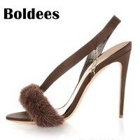Boldees 2018 נשים אופנה חדשות לחצות גבוהים סקסיות סנדלי רצועות נעליים של צד עקבים נעלי עקב באקל נדל פרווה אלגנטי בתוספת גודל 34-43