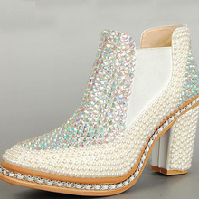2015 Genuine Leather Wedding Boots Ankle Boots for women Platform Winter Boots Fashionable Lady Wedding Dress Shoes Chunky Heels