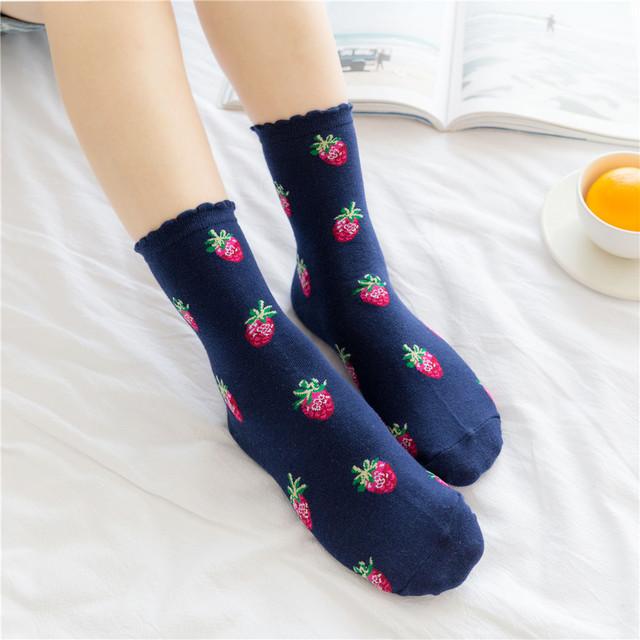 Women's Cute Strawberry Patterned Socks