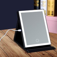 Touch Screen LED Folding Makeup Mirror With Light Portable PU Leather Table Desktop Lighted Foldable Rectangle