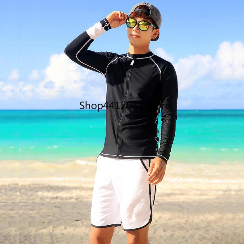 Pasangan Ruam Penjaga Pria Wanita Lengan Panjang Kemeja Celana Pendek Pecinta Surfing Pakaian Solid Hitam dan Putih Zipper Rashguards Winsurf