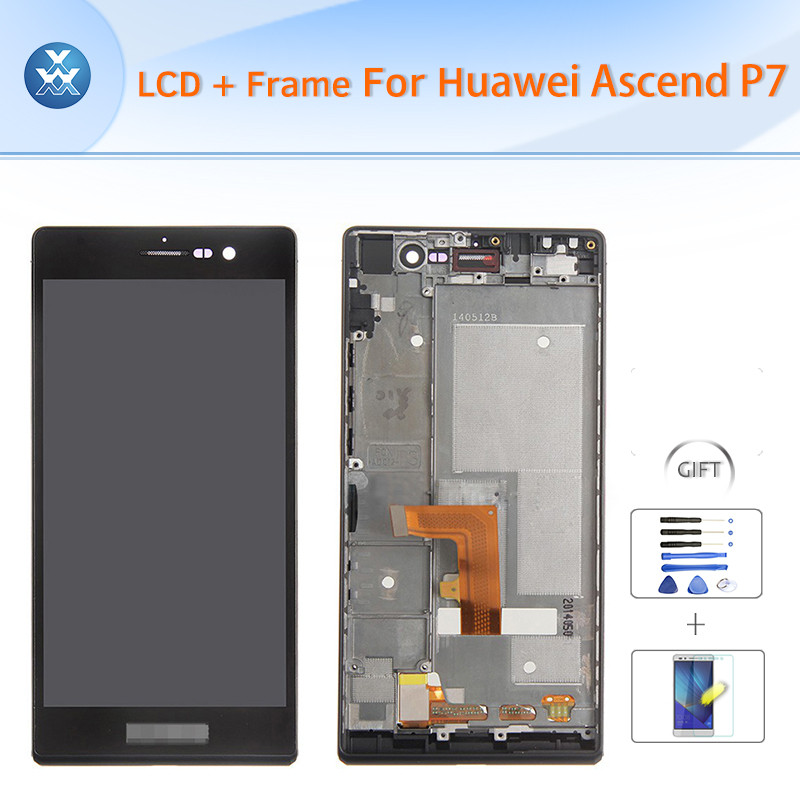For Huawei Ascend P7 LCD Screen and Digitizer Assembly with Frame Replacement - Black - With Huawei Logo Only - Grade