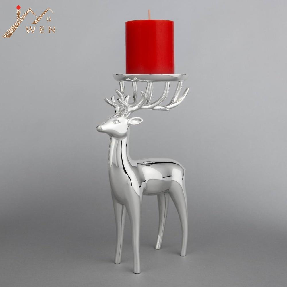 Новое поступление серебряной отделкой олень форма металлический подсвечник, цинковый сплав канделябры, модные свадебные свечи стоят