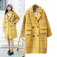Women Wool Coat Plaid Women Loose Long Outwear Woolen Coats Winter Coats Woolen Overcoat 2018 Yellow Jackets Trench