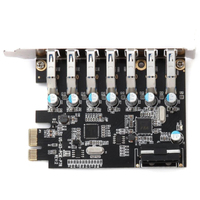 5V 4 Pin Internal Hub Desktop 7 Port SuperSpeed PCI E Express Adapter Expansion Card Black USB 3.0 Add On Mini